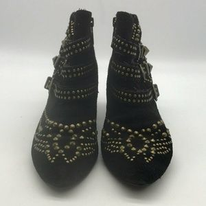 ASH Black Suede Studded Booties Size 36/6